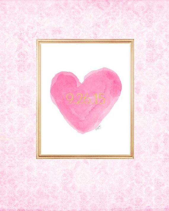 Hot Pink Wedding, Hot Pink Bridal Shower Gift, Hot Pink and Gold Wedding, Special Date, Wedding Date Print, Hot Pink Bridal Gift