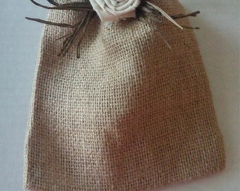 """Rustic Party Favor Bag/ Burlap Bags / Set of 6/ Raffia Decorated With Ivory Linen Flower/ 5"""" X 6""""/ MADE To ORDER/Fall Bridal Shower Favor"""