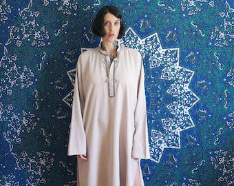 80s vintage caftan hippie tunic dress// boho bohemian embroidered salwar kameez top// small medium large