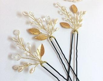Set of 3 bridal hair pins, wedding hair accessories, pearl hair pins, bridal hair accessories, wedding hair pins, gold hair pins, hair pins