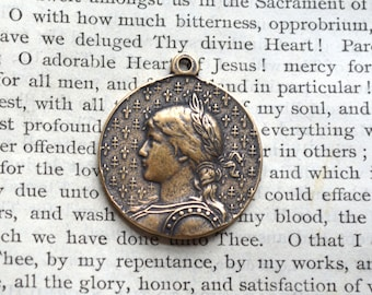 """St. Joan of Arc Religious Medal - 1 1/8"""" - Bronze or Sterling Silver - Joan of Arc - Catholic Medal - Vintage Medal Replica (M-1278)"""