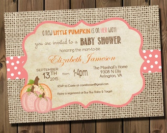 pink little pumpkin girl baby shower invitations diy printable rustic burlap autumn shower invitations