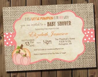 Pink Little Pumpkin Girl Baby Shower Invitations- DIY Printable Rustic Burlap Autumn Shower Invitations _1004