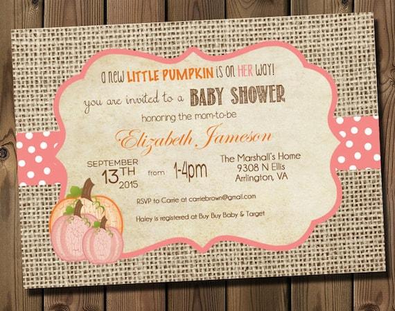 pink little pumpkin girl baby shower invitations by rockstarpress, Baby shower