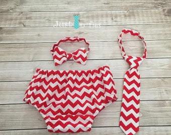 Red Chevron Baby Boy Cake Smash Set First Birthday Outfit