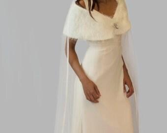 Ivory bridal stole, wrap, shrug, silver brooch, wedding accessory