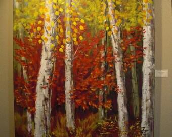 Fall Aspen Forest Original Oil Painting