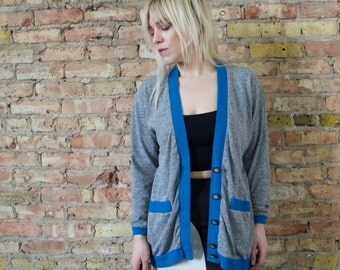 the basket case 90s colorblock cardigan s / m slouchy cardigan heather grey causal preppy tennis sweater