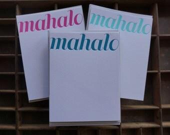 Letterpress Aloha or Mahalo Note Cards - Set of 6