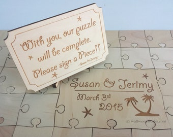 Wedding Puzzle Guest Book (Beach) 32-400 Piece Wedding, Guest Book Puzzle, Guestbook, Rustic, Alternative Wedding, Laser Cut, Engraved