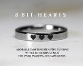 3MM Tungsten Pipe Cut Ring With 8 Bit Hearts Design- Legend Of Zelda