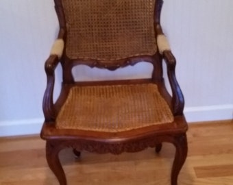 REDUCED***French LOUIS XV Chair Antique/Vintage Doubled Caned Back & Seat