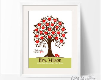 Personalized Teacher Gift, End of the Year Teacher Gift, Teacher Appreciation, Teacher Tree, Class Gift, Apples with Each Student's Name