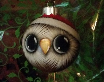 Owl Ornament with Santa Hat. Handpainted glass ornament.