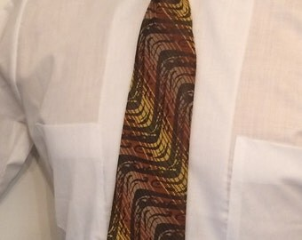 Vintage MENS 1970s brown & yellow diagonal striped tie