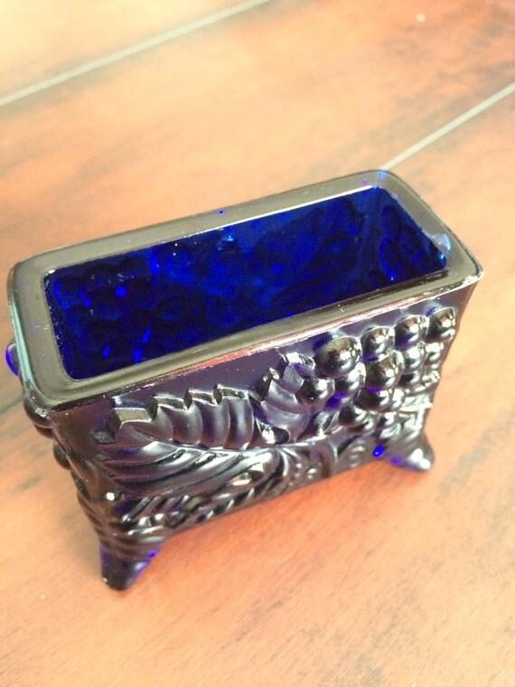 Blue glass toothpick holder boyd crystal toothpick by glorydayz - Toothpick holder for purse ...