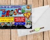 Super Hero Birthday Invitation - Comic Book -  5x7 Digital File