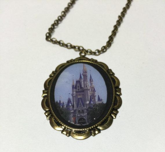 walt disney world cinderella castle cameo necklace or by myhoard