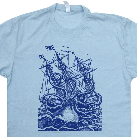 Giant Octopus T Shirt Vintage Sailing T Shirt Sailor Sea