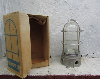 VINTAGE Vapor Proof Lighting Fixture with Glass Globe. Kason Hardware. NIB In Original Box