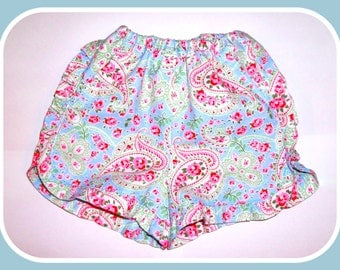 Girls Blue/Pink Paisley Floral Ruffle Shorts {Age 5-6}