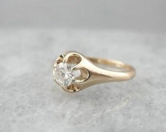 Vintage Diamond Buttercup Belcher Gold Ring D2T99Y-N