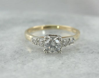Vintage Diamond Ring in Yellow and White Gold 22KTDR-P