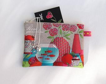 Illustrated natural linen 'grenadine rose' wallet