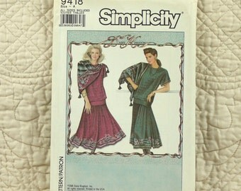 Top Skirt, S M L XL, Simplicity 9418 Pattern, Daisy Kingdom, Pullover, Gathered to Yoke, 1989 Uncut, Size 10 12 14 16 18 20