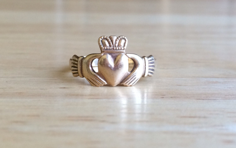 vintage engagement ring 9ct gold irish claddagh size 7 12