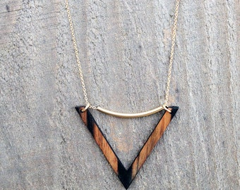 VENICE Necklace // Salvaged WOOD Jewelry // Long Chevron Necklace