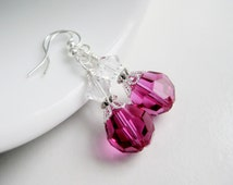 Fuchsia earrings, magenta jewelry, Swarovski crystal, hot pink dangle earrings for women, bright pink gift