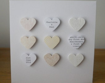 Handmade personalised First Anniversary card - 1st Paper