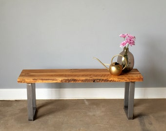 Reclaimed Wood Live Edge Bench / U-Shaped Metal Legs