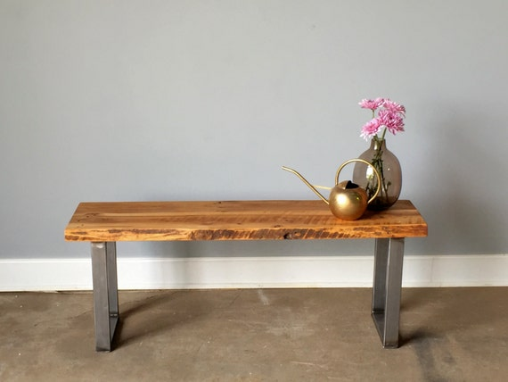 Reclaimed Wood Live Edge Bench U Shaped Metal Legs