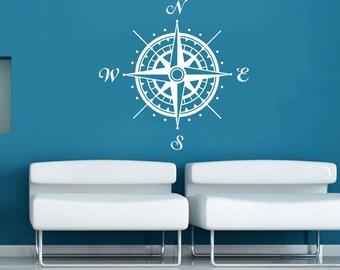 Compass Rose Wall Decal Vinyl Sticker Decals Nautical Compass Navigate Ship Ocean Sea Living Room Bedroom Decor Nautical Wall Decal SV6230