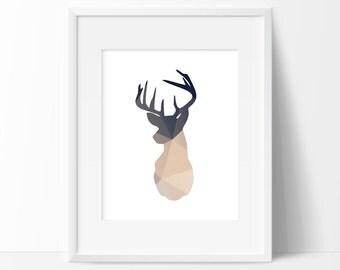 Deer Head Print, Charcoal, Beige, Graphic Art Print, Printable, Print, Low-Poly, Polygon Print, Polygon Deer Head, Wall Prints, Home Décor