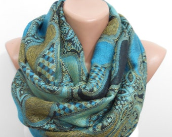 Pashmina Scarf Mothers Day Gift Oversize Scarf Blue Infinity Scarf Men Scarf Women Fashion Accessory Christmas Gifts For Her For Him For Mom