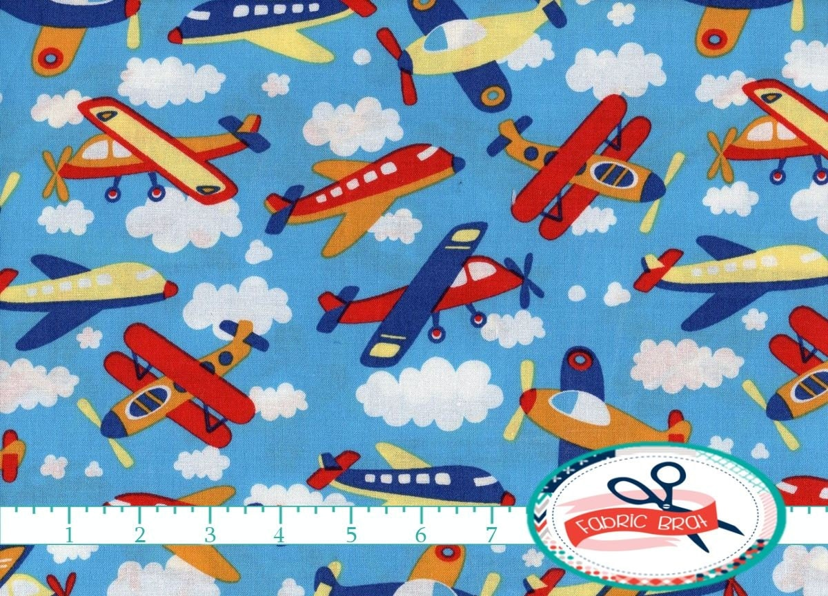 airplane fabric by the yard fat quarter blue sky clouds