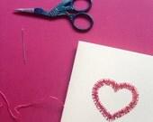 Love Heart Handmade Stitched Anniversary / Valentine Card