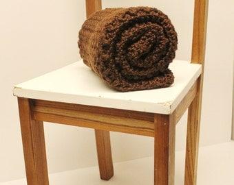 Chocolate Brown Crochet Baby Blanket, Chunky Security Blanket, Receiving Blanket, Baby Girl Stroller Blanket, Baby Boy Heirloom Crib Blanket