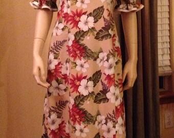 Traditional Hawaiian Luau Beige, White, and Rust Flower Dress