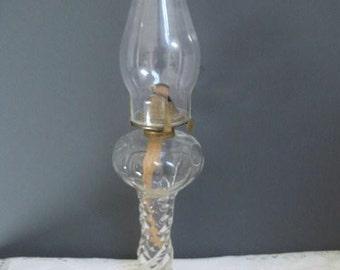 Vintage Oil Lamp Clear Glass Swirl Base Kerosene Lamp Home Decor