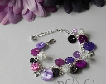 Violet Moonshine Bracelet, Midnight Purple Sky Jangly Bangle, Present Idea for Women, Dressmaker Token, Unique Night Sky Gift for Girls