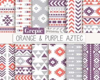 "Aztec digital paper: ""ORANGE & PURPLE AZTEC"" aztec patterns, tribal backgrounds, coral, purple, geometric, native, triangles, arrows, pop"