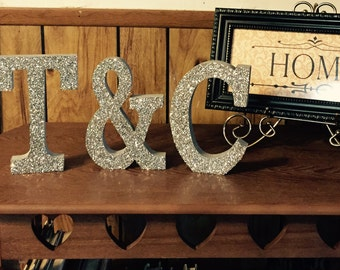 Glittery Wooden Couples Initials Set