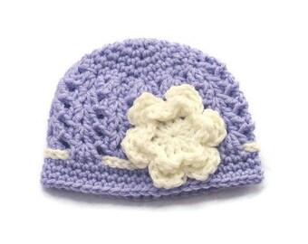 Newborn Girl Hat, Baby Girl Hat, Newborn Girl Beanie, Infant Girl Hat, Newborn Photo Prop, Girl Photo Prop, Mauve, Cream, Flower, Crochet