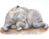 Baby Elephant, Safari Nursery Art, Sleeping Baby Animal, Elephant Nursery, Sleeping Elephant Art, Baby Girl Room Decor, Gray - 8.5x11