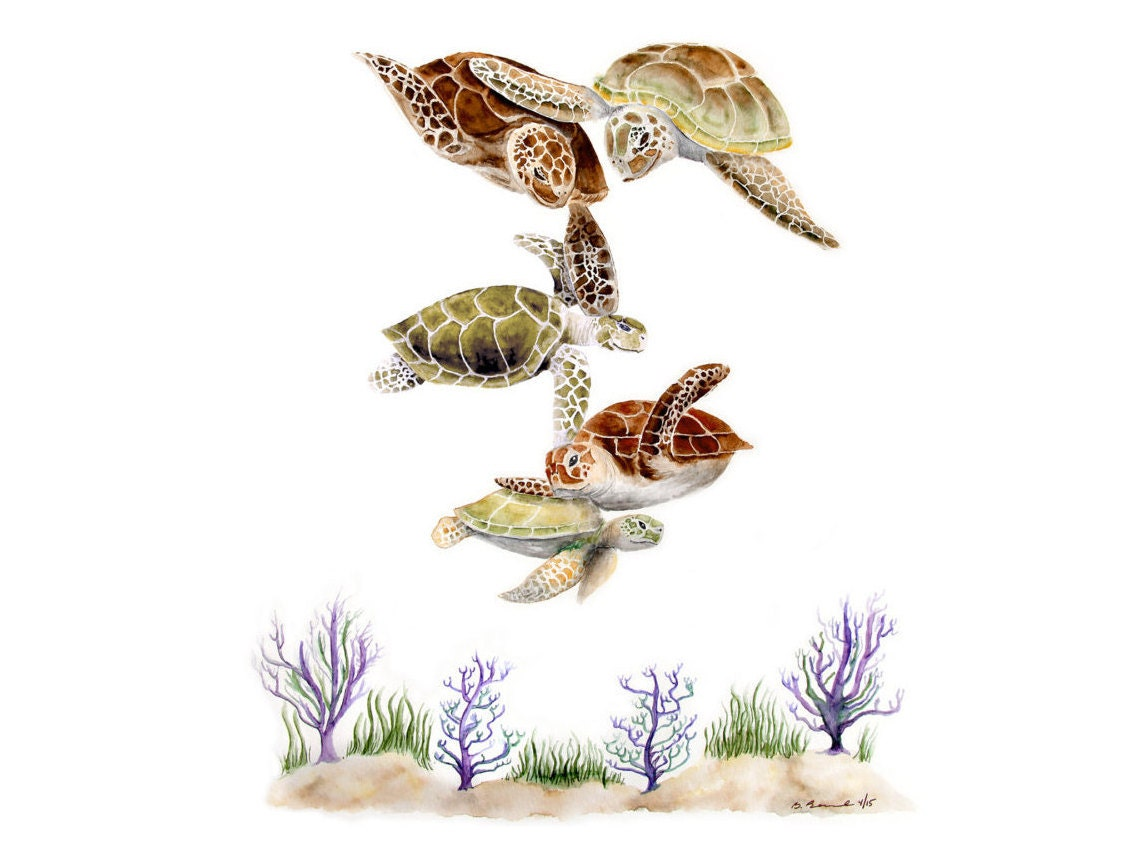 Sea Turtle Family Ocean Nursery Decor Turtle Art By