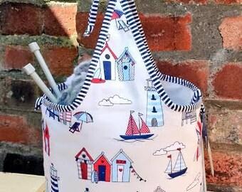 NAUTICAL Knitting Bag Crochet Project Bag REVERSIBLE Tote Shopping Maritime Beach Huts Holiday Yarn Holder Organizer Handmade Fabric Gift